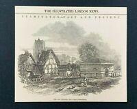 1846 Newspaper Print LEAMINGTON SPA, THE OLD CHURCH & FIRST PUMP-ROOM