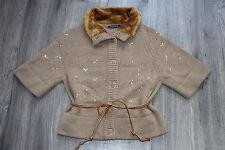RIVER WOODS Damen Strickjacke M 38 Lammwolle Angora Cardigan Jacket braun NEU