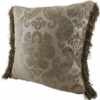 Chenille cushion cover 45cm x 45cm - French Beige / Cream colour trimmed with ma