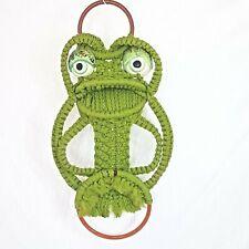 "Vtg Macrame Frog Porcelain Eyes Decor Wall Hanger Bright Green Fun Kitsch 21"""