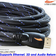Braided 30FT HDMI Cable v1.4 Ultra HD 1080p 3D High Speed with Ethernet HEC ARC