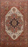Geometric IVORY/RUST Heriz Oriental Area Rug PALACE Hand-Knotted Wool 12'x15'