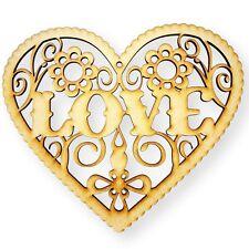 Love heart Shape Craft Shape Embellishment 3mm Thick MDF Wood Design Project x8