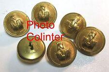 Ensemble de 6 Boutons métal jaune 24mm : Officier du Génie