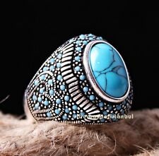 Heavy Turquoise Stone Turkish Jewelry 925 Sterling Silver Men Man Ring ALL SİZE