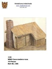 WWII casa rusa troncos madera 1:35 russian house grunts wood building ruins