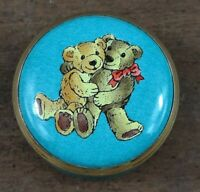 HALCYON DAYS Enamel Hugging Bears Mini Pill Trinket Box Blue Rare