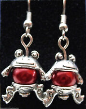 Tibetan Silver Frog Dangly Earrings with Rich Red Glass Pearls *Cute Gift*