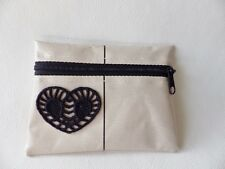 "HANDMADE OILCLOTH MINI COIN PURSE 4¾"" x 3.5"" Zipped: BEIGE/BLACK LACE MOTIF"