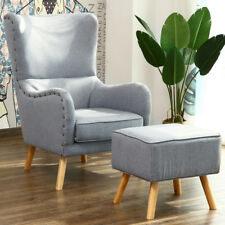 Style In Chesterfield Armchair Linen Fabric Wing Chair Sofa w/ Stool Pillow Grey