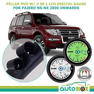 Dual Pillar Pod w/ 3in1 LCD Digital Gauge for Mitsubishi Pajero NS-NX 2006 onwrd