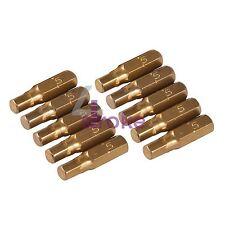 "10Pk Hex Gold Screwdriver Bits Hex 5mm Hard Titanium-Coated S2 Steel 1/4"" Drive"
