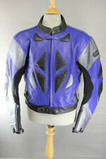 DYNAMIC LEATHERS BLUE, BLACK & SILVER BIKER JACKET WITH CE ARMOUR 46 INCH XL