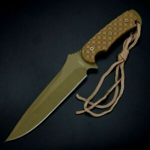 Drop Point Knife Fixed Blade Hunting Wild Survival Army Combat Tactical Military