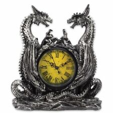 Dragonstar Clock Twin Dragons Resin Sculpture Vintage Style H11.5'' x L9'' x W5""