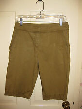 Eileen Fisher Sz 4 Tapered Bermuda Walking Shorts Cotton/Lyocell/Span Blnd Olive