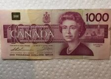 1988 $1000 CANADIAN NOTE BILL AUTHENTIC