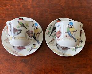 Set Of 2 GARDEN BIRDS BREAKFAST CUP SAUCER ROY KIRKHAM fine bone china England