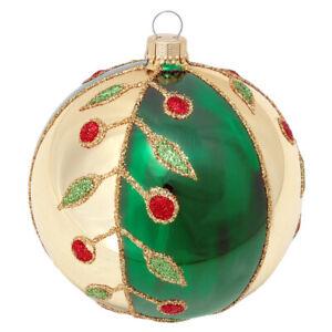 """KREBS-GLAS Lauscha """" Eine Weihnachtskugel Ø 8 cm Gold-Grün-Blätter"""