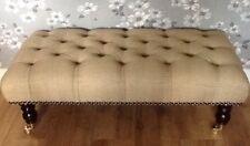 Footstool Stool In Laura Ashley Edwin Gold Fabric