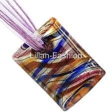 Silver Purple Rectangle Lampwork Glass Murano Bead Pendant Ribbon Necklace Cord