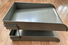 Vintage Globe Wernicke 2 Tier Olive Green Metal File Tray Desk Organizer