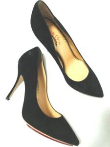 Charlotte Olympia UK7 - 40  Black suede stiletto heel court shoes NEW (3241