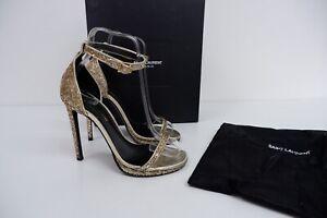 Saint Laurent Womens High Heel Sandals Shoes Size Uk 3.5 Eu 36.5 Gold Glitter