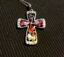Cross Pendant with Multi-Colored Gems