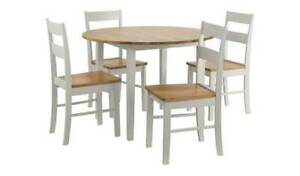 Chicago Solid Wood Round Table & 4 Two Tone Chair