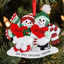 Our First Christmas Together Snow Couple Ornament for Personalization