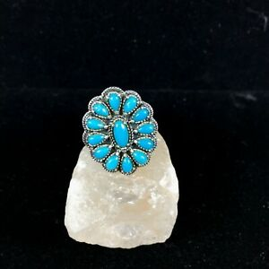Vintage Carolyn Pollack Sterling Silver Ring Turquoise Cluster Sz 8 Southwest