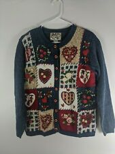 Women's Heirloom Collectibles Cardigan Valentine Sweater S Hearts Flowers button
