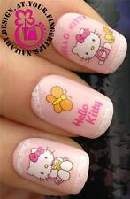 NAIL ART WATER TRANSFERS STICKERS DECALS SET HELLO KITTY CUPCAKE BUTTERFLY #63