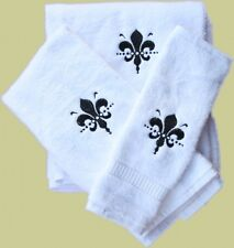 Personalized Embroidered Black Fleur De Leis 3p White Hand Towel Set