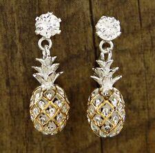 Hawaiian 925 Sterling Silver Pineapples Dangle Post Cubic Z Earrings # SE27305