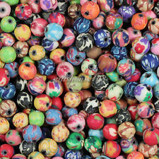 100pcs 6mm Mixed Polymer Fimo Clay Round Ball Loose Spacer Beads