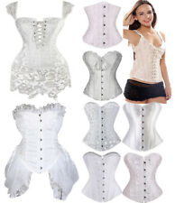 e98207b0bef Sexy Ladies White Wedding Busiter Boned Corset Top Lingerie G-string Lace  Gothic