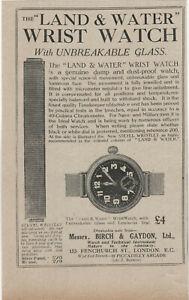 Antique Print Advert 1916 Land & Water Wrist Watch Birch & Gaydon Fenchurch St