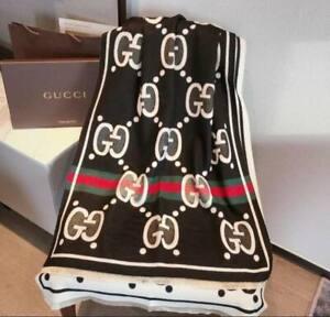 Gucci Men Women Shawl GG blue WEB wool scarf 65cm x 180cm Black Color