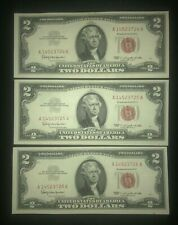 3 Consecutive 1963 $2 Red Seal Notes - AU+