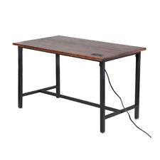 Bar Table Pub Home Top Rack Wine Modern Wood Kitchen Indoor Furniture Steel Leg