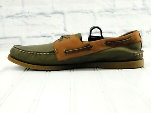 SPERRY TOP-SIDER Men's Leather Green & Brown Casual Comfort Shoes US 11.5M EU 45
