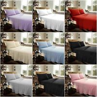 Plain Flannelette 100% Brushed Cotton Fitted & Flat Sheet Sets With Pillowcases