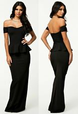 Sz 14 16 Off Shoulder Peplum Black Sexy Formal Cocktail Party Evening Long Dress