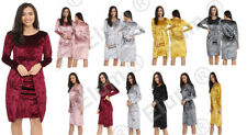 New Women's Ladies Crushed Velvet  Long Sleeves Front Ruched Midi Dress