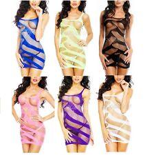 Women's Sexy Spandex Lingerie Fishnet Mesh Chemise Nightdress Bodystockings