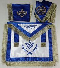 Blue Masonic Master Mason Satin Apron,Collar gauntlets Set with Fringe