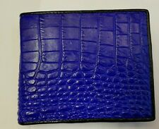 GENUINE CROCODILE ALLIGATOR WALLETS SKIN LEATHER BIFOLD BELLY MEN'S BLUE WALLET1