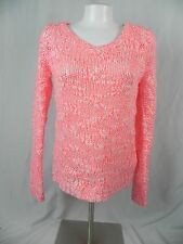 NEW Aeropostale Bright Pink and White V Neck Sweater Size S (F1-17)